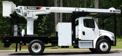 Terex XT60 rear mount aerial lift on Freightliner Chassis
