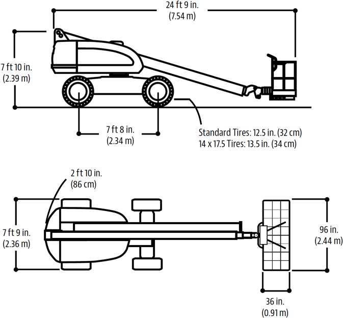 Technical drawing of the JLG 400S aerial lift