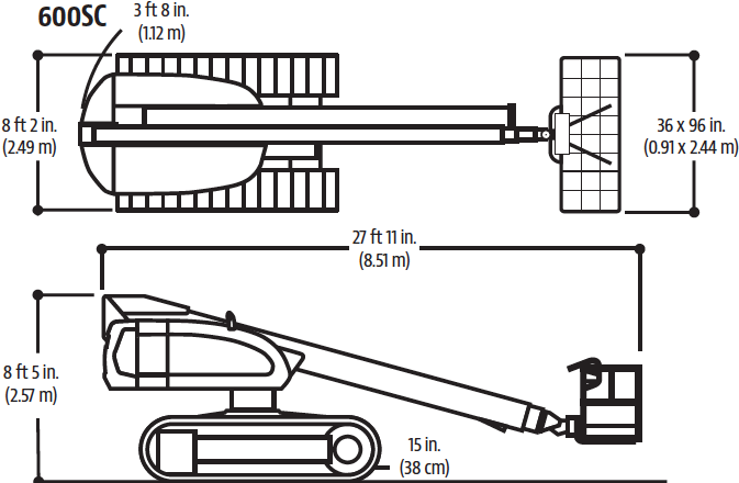 Drawing of the JLG 600SC crawler-mounted telescopic boom aerial lift