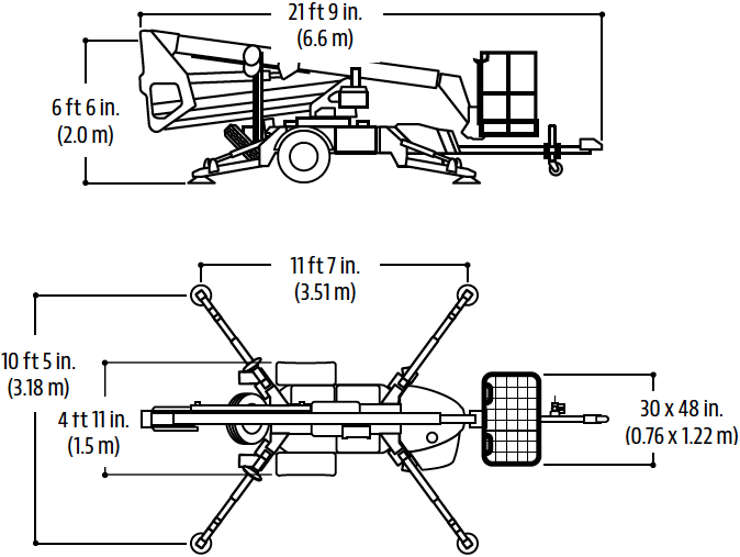 Drawing of the JLG T350 towable telescopic boom aerial lift