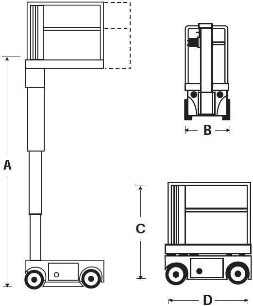 Drawing of the Snorkel TM12 electric scissor lift.